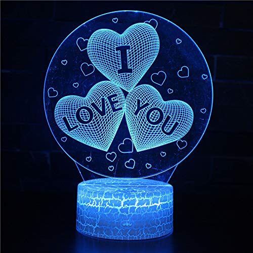 SIEMOO I Love U 3D Night Light, 16 Colors Ballon Heart Illusion Lamps Changing with Remote Control and Smart Touch Table Lamp Home Decor Best Valentine's Birthday Xmas Gifts for Boys Girls (I Love U)