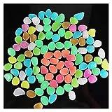 Piedras Luminosas 100 unids Resplandor de Piedra Que Brilla intensamente en los guijarros Oscuros Decoración al Aire Libre Tanque de Peces Grava Rocas Decoración (Color : Multicolor)