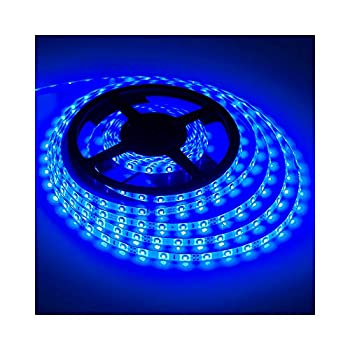 XINKAITE Waterproof Led Strip Lights SMD 3528 16.4 Ft  5M  300leds 60leds/m White Flexible Tape Lighting Tape Lights for Boats Bathroom,Mirror,Ceiling and Outdoor  Blue