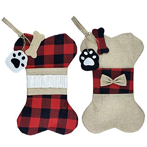 Medias de Navidad para perros y mascotas, 2 piezas de arpillera a cuadros con forma de hueso grande para mascotas, medias para colgar en la chimenea para decoraciones navideñas