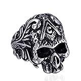 EzzySo Anillo masónico del Motorista de época gótica del cráneo del Acero Inoxidable,Steel Color,13