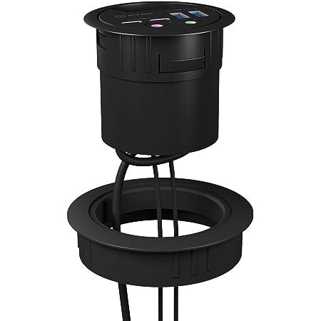 ICY BOX - Adattatore ad anello da incasso per hub da tavolo USB, 80 mm, in plastica, colore: Nero