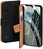 moex Handyhülle für Xiaomi Mi 9 Lite - Hülle mit Kartenfach, Geldfach & Ständer, Klapphülle, PU Leder Book Hülle & Schutzfolie - Schwarz