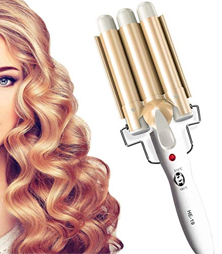 3 Barrel Hair Curler, 25MM Hair Waver Curling Iron Wand Adjustable Temperature, Curling Tongs Crimping Bubble Styling Tool Tourmaline Ceramic for Long Hair, Gold
