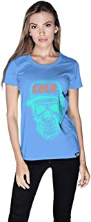 Creo Cyan Orange Coco Skull T-Shirt For Women - S