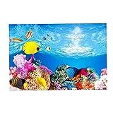 Baoblaze Etiqueta engomada del Fondo del Acuario, Papel Pintado Adhesivo 3D de Doble Cara imágenes Decorativas del Tanque de Peces telón de Fondo subacuático - 30x52cm