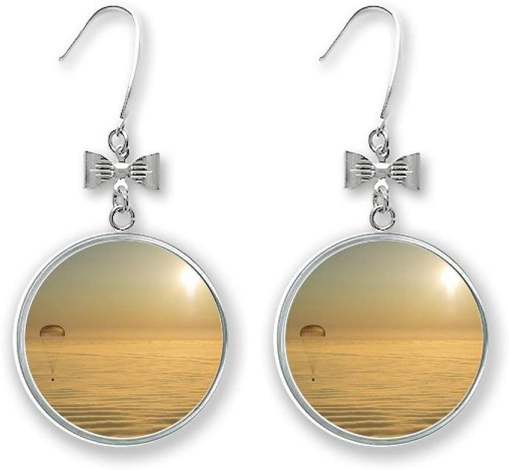 Golded Bright Sun Clound Balloon Bow Max 41% OFF Drop Stud Pierced Earrings Elegant