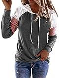 Sudadera con capucha de manga larga con diseño de patchwork para mujer, color block con capucha y bolsillo con cordón, suéter casual para mujer