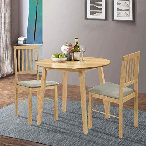 GOLDFAN Esstisch mit Stühle Holztisch mit 2 Stühlen Set Wohnzimmertisch Klein Rund aus Eichenholz Natur