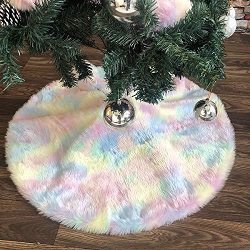 ShiyiUP - Copertura base albero di Natale in peluche, colore: bianco, Multicolore, 90cm