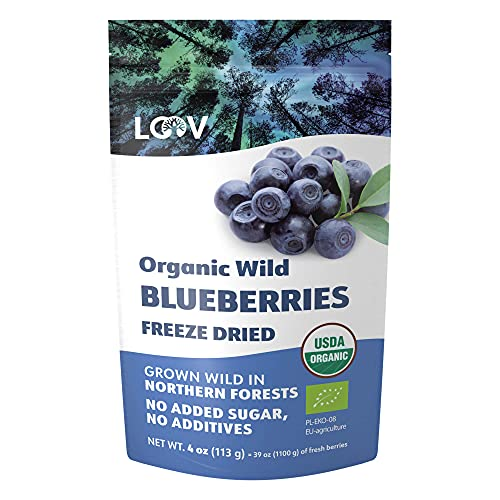 Arándanos Secos Orgánicos Silvestres LOOV, sin azúcar añadido, sin aceite añadido, 4 onzas, arándanos silvestres liofilizados de bosques nórdicos, 100% fruta entera, no OMG, frutas secas sin azúcar