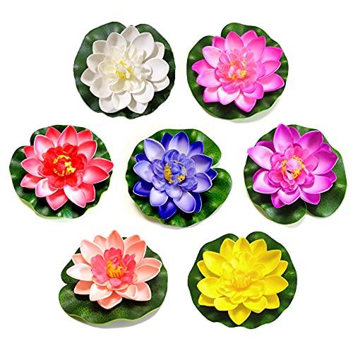 ALHWXCH2 Künstliche Lotus Seerose Blume Künstlich Lotusblüte Lotusblume Dekoration Schwimmend Lotusblüte Künstliches Lotusblatt Lotusblüte für Aquarium Terrasse Garten Pool Garten Teich 7 Stück 10cm