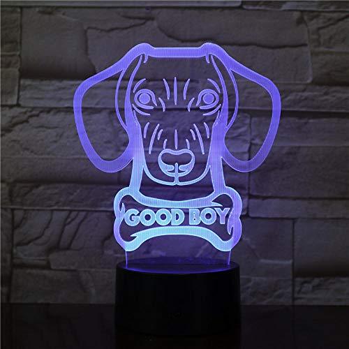Dackel worst vorm hond licht modern tafellamp Weense hond huisdier pup goede jongen hond naam glanzend 3D LED-licht