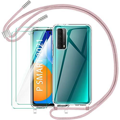 AROYI Funda con Cuerda para Huawei P Smart 2021 y 2 Pack Cristal Templado, Carcasa Transparente de TPU con Correa Colgante Ajustable Case Cover para Huawei P Smart 2021, Oro Rosa