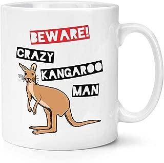 Beware Crazy Kangaroo Man 11 oz Ceramic Glossy Mug With C-handle - Funny Australia Funny