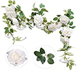 Felice Arts 2PCS(13.8FT) Artificial Rose Vine Silk Flower Garland Hanging Fake Roses Flowers Plants for Hotel Office Wedding Home Party Garden Craft Art Decor,White