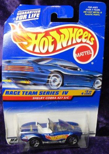 Hot Wheels Mattel 1998 1:64 Scale Race Team Series IV Blue Shelby Cobra 427 S/C Die Cast Car 3/4