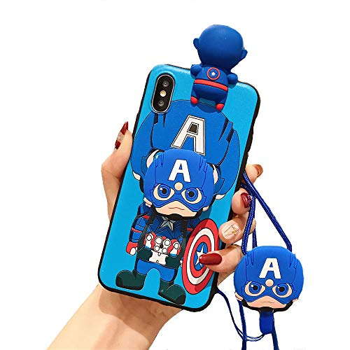 MME Character Case for iPhone 7/8 / SE 2020 - Captain America Iron Man Batman 3D Cartoon Case Soft TPU with Pop Out Phone Stand and Holder Neck Strap Lanyard (Captain America, 7/8 / SE 2020)