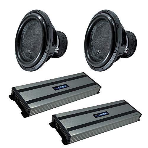 """Harmony Audio (4) HA-ML151 Monolith 15"""" Competition Sub 3200W Subwoofer Bundle with (2) HA-A1500.1 Amplifier"""