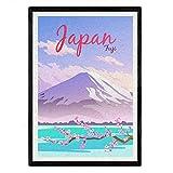 Japan Blatt. Vintage-Stil. Poster Berg Fuji in Farbe. Japan