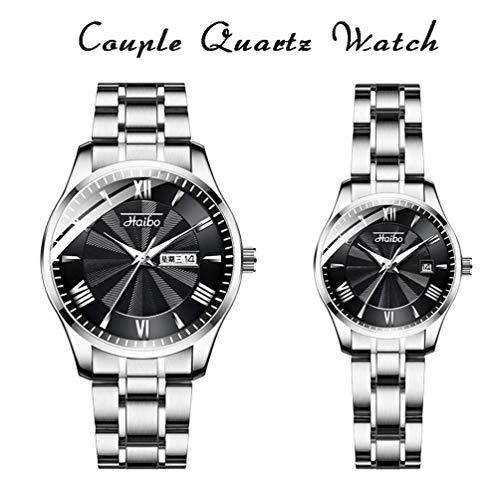Xinmeite-watch Armbanduhr Analog Quarzwerk Romantisches Paar, Einfache Mode Zifferblatt 30M Leben Wasserdicht mit Mineralglas Spiegel, Edelstahlarmband