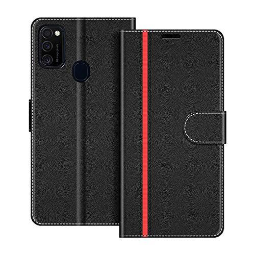 COODIO Handyhülle für Samsung Galaxy M21 Handy Hülle, Samsung Galaxy M21 Hülle Leder Handytasche für Samsung Galaxy M21 Klapphülle Tasche, Schwarz/Rot