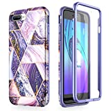 SURITCH for iPhone 7 Plus Case iPhone 8 Plus Cover 360 Protection Silicone Back Cover with Built in Screen Protector Slim Thin Bumper Shockproof iPhone 7 Plus / 8 Plus Case(Purple)