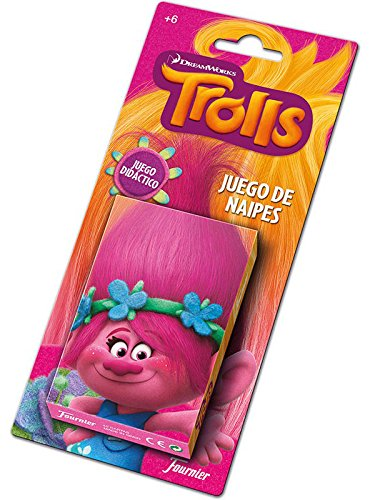 TROLLS Baraja De Cartas Infantil, Multicolor (Naipes Heraclio Fournier 1034791)