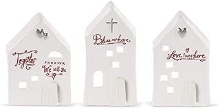 DEMDACO House Home Winter White 6 x 4 Ceramic Stoneware Tealight Holders Set of 3