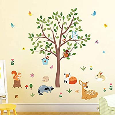 decalmile Forest Animals Tree Wall Decals Deer Squirrel Owl Wall Stickers Baby Nursery Kids Bedroom Playroom Wall Decor