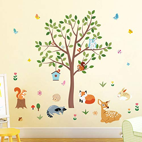 decalmile Pegatinas de Pared Bosque Animales y Árbol Vinilos Decorativos Búho Zorro Ciervo Adhesivos Pared Habitación Infantiles Bebés Dormitorio