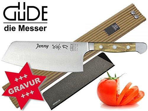 Güde Alpha Olive Messer Kochmesser Santoku Brotmesser Schälmesser Schinkenmesser Chai Dao ohne/mit Gravur + Prymo Farbe 2) Messer MIT Gravur, Größe Chai Dao 16cm