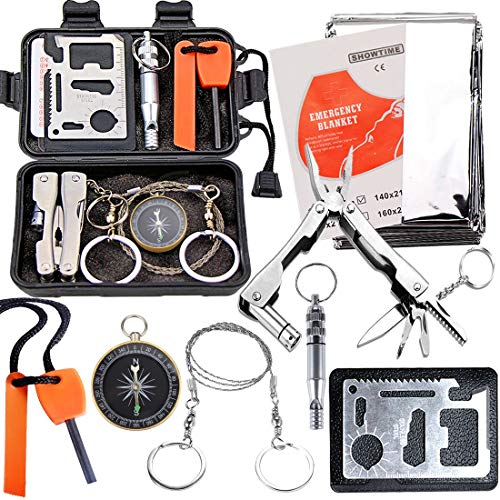 N.MAX Survival Kit 8 in 1, Rettungshilfe professionelles Survival kit mit Klappmesser, Kompass