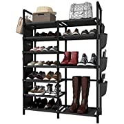 6 Tiers Shoe Rack 22 Pairs Shoes Boots Storage Organizer Double Row Entryway Shelf Stackable Cabinet Tower Non-woven Fabric 35.4x11.8x57.1 Inches Black