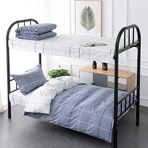 Chuanglanja dekbedovertrek voor tweepersoonsbed, slaap voor studenten, van puur katoen, 3-delig, 0,9 - 1,35 m, wit en grijs