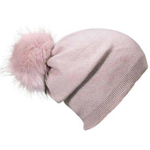 DonDon Bonnet d'hiver avec Pompon détachable à Changer Femme Bonnet Laine Chaud et Doux - Rose