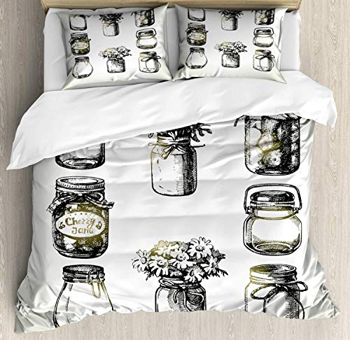 Retro King Bedding Duvet Cover 3 Piece, Rustic Mason and Canning Jars Sketch, Soft Bedding Protects Comforter with 1 Comforter Cover 2 Pillow Case, Pale Almond Green Dark Pine Green Pale Yellow Gree