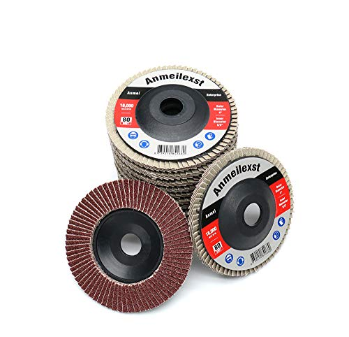 "Anmeilexst 12 Packs 80 grit High Density Aluminum Oxide Flap Disc Abrasive Grinding Whee, 4"" Sandpaper Wheel, for Polishing Metal, Stainless Steel and Wood"
