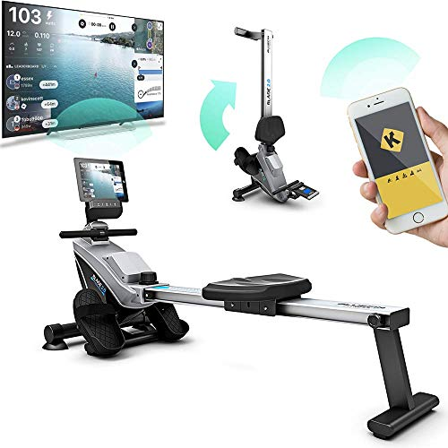Bluefin Fitness Blade Home Fitness Roeitoestel voor thuis, inklapbaar, magneetweerstand, roeimachine, Kinomap Smartphone app, live video streaming, coaching & training, digitale LCD-fitnessconsole