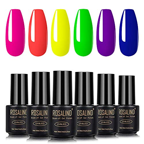 ROSALIND Nagellack Gel Gellack UV Set 6 Neon Farben Semi-permanent Soak Off Varnish Pastell Lack Akt Maniküre 7ml