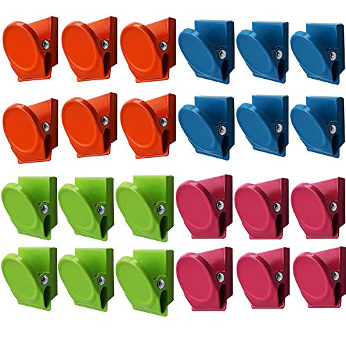 24Pack Magnetic Clips, Refrigerator Whiteboard Wall Fridge Magnetic Memo Note Clips Magnets Magnetic Metal Clips, Multiclolor
