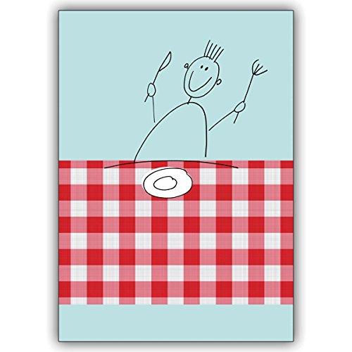 1 Einladungskarte: Fröhliche, illustrierte Einladungs Klappkarte zum Essen • edle Klappkarte mit Umschlag innen blanko