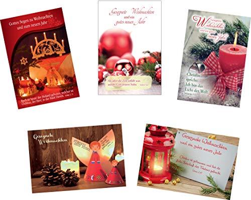 Kollektion Reuter 10er Set Postkarten; 5 verschiedene Weihnachtspostkarten mit Bibelvers (je 2 pro Motiv), 42-1101