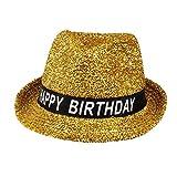 Boland 00941 - Hut Happy Birthday, 1 Stück, Einheitsgröße, Geburtstagshut, Gold, Glitzer, funkelnder Fedora, Banderole schwarz-weiß mit Schrift, Accessoire, Geschenk, Outfit, Party,...