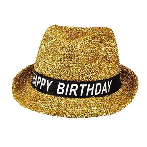 Boland 00941 - Hut Happy Birthday, 1 Stück, Einheitsgröße, Geburtstagshut, Gold, Glitzer, funkelnder Fedora, Banderole schwarz-weiß mit Schrift, Accessoire, Geschenk, Outfit, Party, Sparkling