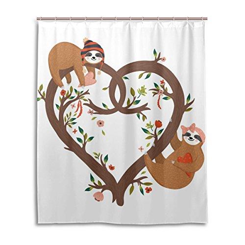 mydaily Faultier Baum in Herzform Duschvorhang 152,4x 182,9cm, schimmelresistent & Wasserdicht Polyester Dekoration Badezimmer Vorhang