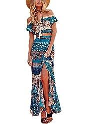1d070db707 EFINNY Women Floral Bandage Maxi Dresses Beach Two Piece Boho Crop Top Long  Skirt Set