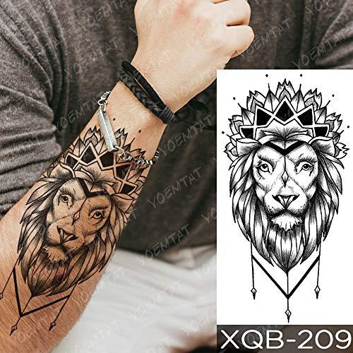 Waterproof Temporary Tattoo Sticker Wolf Tiger Skull Lion Tattoos Yin Yang Clock Forest Body Art Arm Fake Sleeve Tatoo Women Men