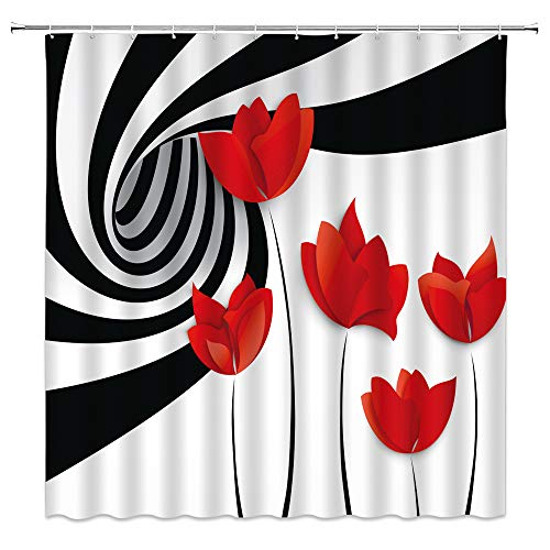 """XZMAN Poppy Shower Curtain Abstract Poppy Flower Rustic Floral 3D Black and White Vortex Spiral Swirling Striped Creative Fabric Bathroom Curtains Decor Quick Drying Set Include Hooks,(70"""" WX70 H)"""