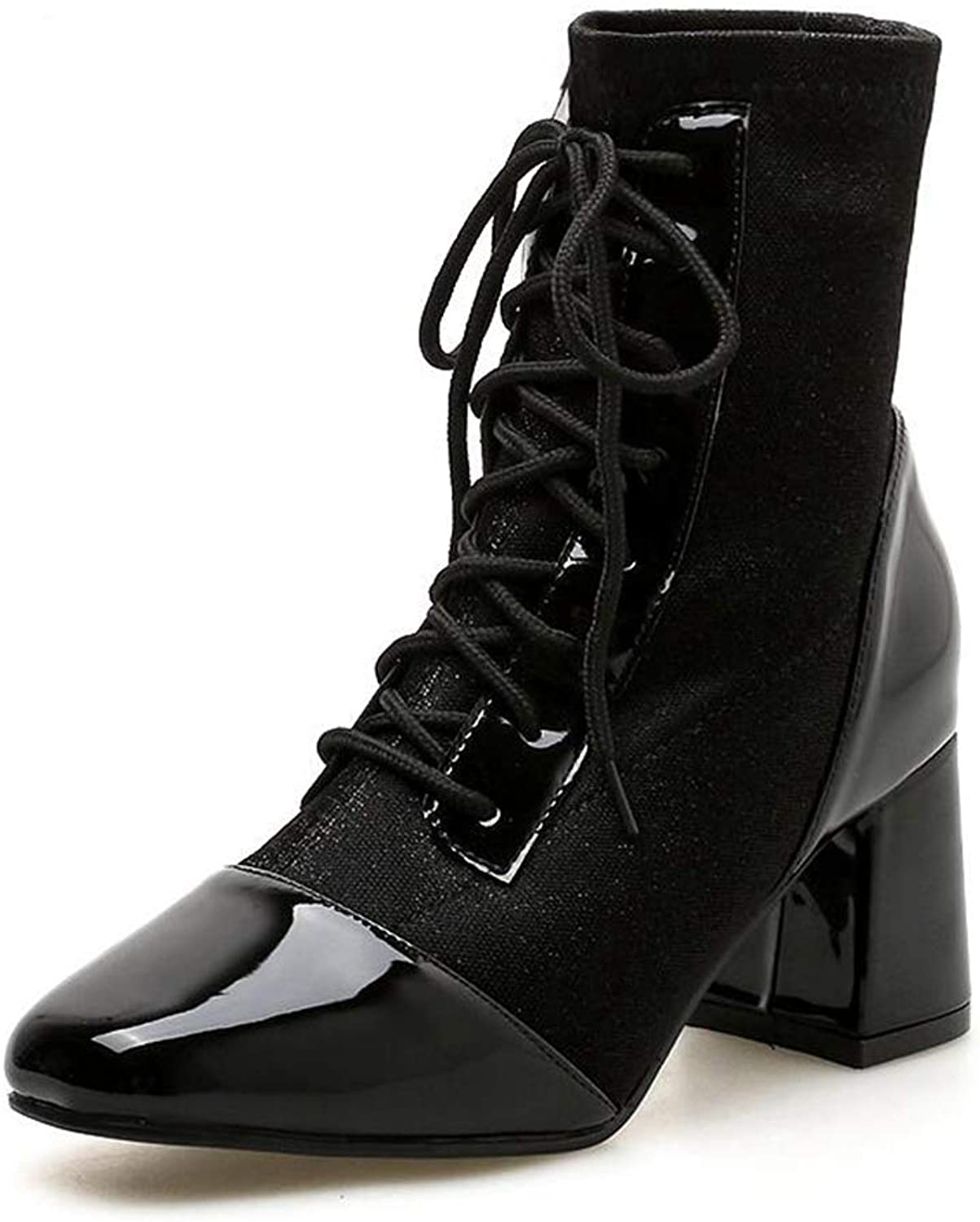 Silver PU Leather Ankle Boots for Women Square Toe Chunky Heels Lace-up Chelsea Booties